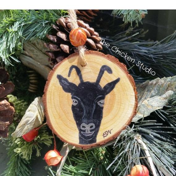 Goat Christmas Ornament.Goat Ornament Christmas Ornaments Goat Decor Wood Slice Ornament Rustic Farmhouse Free Shipping
