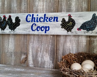 Chicken Coop Sign, Whimsical, Chicken Decor, Original art, Wood sign, outdoor, Chicken Sign, Gift, Chicken Coop Decor, rooster, hen