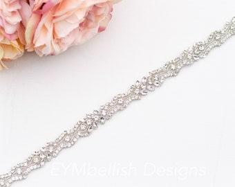 Silver Diamante Bead Thin Bridal Wedding Dress Belt Crystal Sash Rhinestone 5827