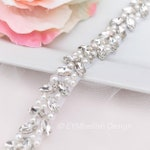 Full Length Thin Rhinestone and Pearl Bridal Belt with Clasp- Pearl Bridesmaids Belt- Narrow Wedding Belt with hook- EYM B090