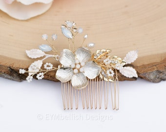 Bridal Hair Comb with Opals- Vintage Wedding Hair Piece-  Rhinestone hair piece with flower-H023