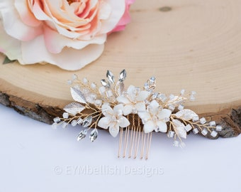 Bridal Hair Comb- Vintage white Wedding Hair Piece with pearls and gold metal-  Rhinestone hair piece with flower-