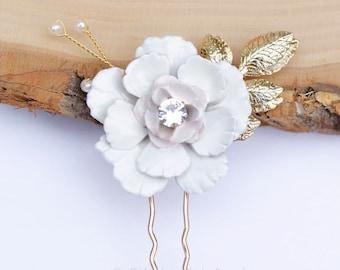Bridal Hair Comb- Vintage Blush Wedding Hair Pin-  Rhinestone hair piece with flower