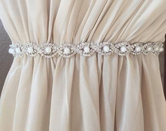 Custom Thin Silver Crystal and Pearl Rhinestone Belt - Bridal Belt or pearl Bridesmaids Belt - Pearl Bridal Belt - Pearl Sash-EYM B036 Pearl