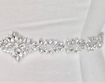 Rhinestone Bridal Belt on Ribbon Sash- Crystal Bridal Sash- Rhinestone Belt- Wedding Accessory- Leaf Boho Bridal Belt