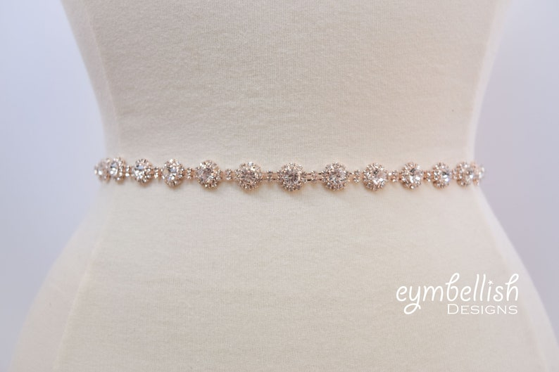 9178f050e70f Thin Rose Gold Crystal Rhinestone Belt Bridal Belt or Rose | Etsy