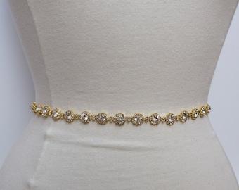 Thin Gold Crystal Rhinestone Belt- Bridal Belt or gold Bridesmaid Belt- Thin Crystal Bridal Belt- Gold Bridal Belt- Gold Wedding Sash- B024