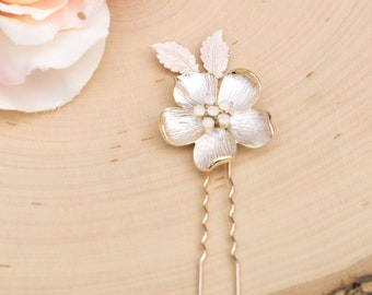 Bridal Hair Comb- Vintage Gold Wedding Hair Pin with opal-  Rhinestone hair piece with opals- H022