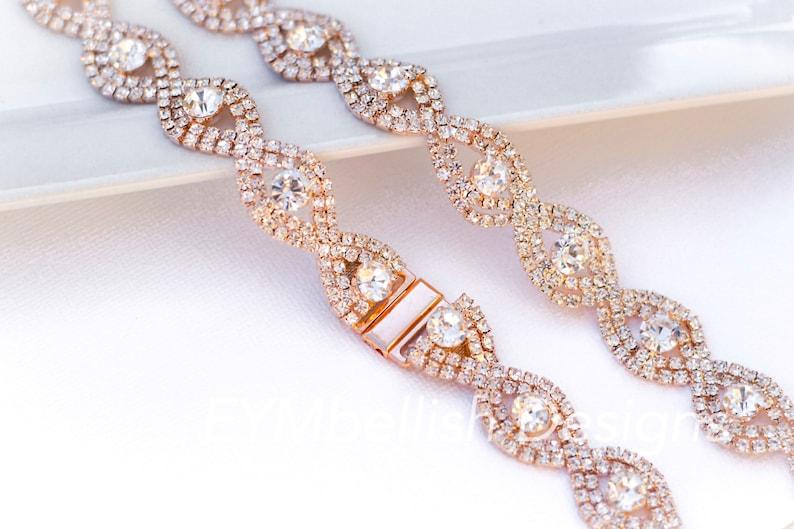 Rose Gold Bridal Belt with Clasp Closure-Thin Rhinestone image 0