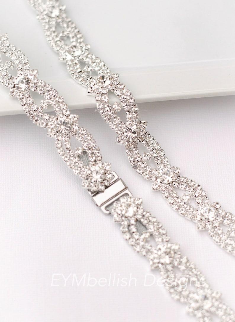 Clasp Thin Crystal Rhinestone Bridal Belt  Full Length Bridal image 0