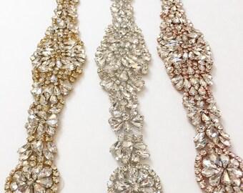 Rose Gold Crystal Rhinestone Bridal Belt on Satin Sash - Bridal Sash - Rhinestone Belt - gold Wedding Accessories -  EYM B048