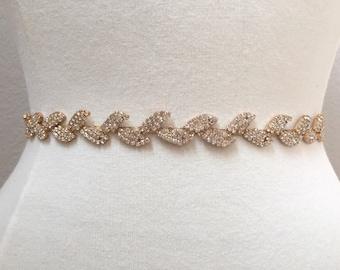 Thin Gold Leaf Crystal Rhinestone Belt -  Gold Bridal Belt or Gold Bridesmaids Belt - Boho Bridal Accessory- Gold Leaf Belt -  EYM B025