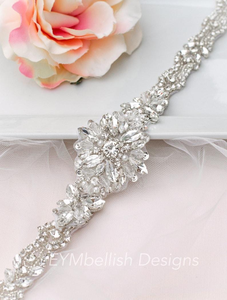 Thin Bridal Belt with clasp  Thin Rhinestone Wedding Belt image 0