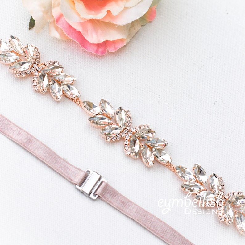 Rose Gold Bridal Belt with Elastic Clasp 1 Fitted image 0