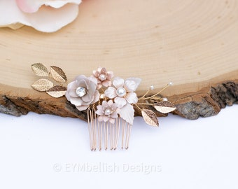 Bridal Hair Comb- Vintage Blush Wedding Hair Piece-  Rhinestone hair piece with flowers