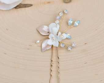 Bridal Hair Comb- Vintage Blush and Gold Wedding Hair Pin with opals- Rhinestone hair piece with beading and crystals- H015