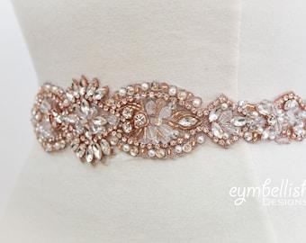 Rose Gold Bridal Belt on Satin Sash- Thick Crystal Rhinestone Bridal Belts- Wedding Accessories- Rhinestone Belt- Bridal Belt Sash- EYM B053