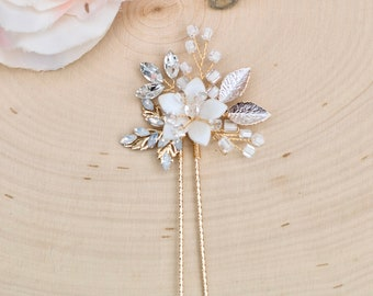Bridal Hair Comb- Vintage Gold Wedding Hair Pin with opals- Rhinestone hair piece with beading and crystals H017