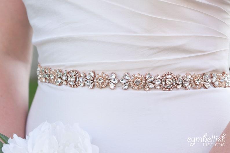 Rosegold Rhinestone Belt Customized Rose Gold Crystal Rhinestone Bridal Belt on Ribbon Sash Bridal Sash Blush Wedding Accessories b081