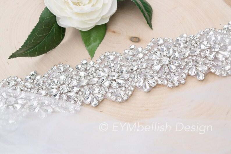 EYM B020 Crystal Rhinestone Bridal Belt-  Bridal Sash Rhinestone Belt Thick Bridal Belt Wedding Accessory Wedding Belt