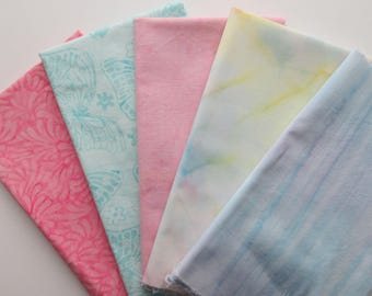 5  Batik Fabric Bundle -  Half Yard Cuts - Butterflies & Pastel Blenders - 100% Cotton