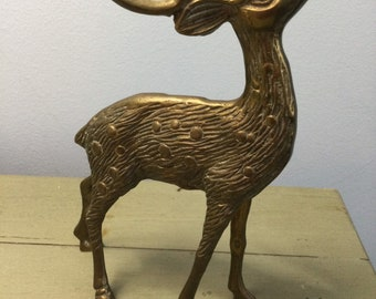 Vintage Bronze Leaping Deer Figurine by Oriental Accent Fawn Doe Sculpture