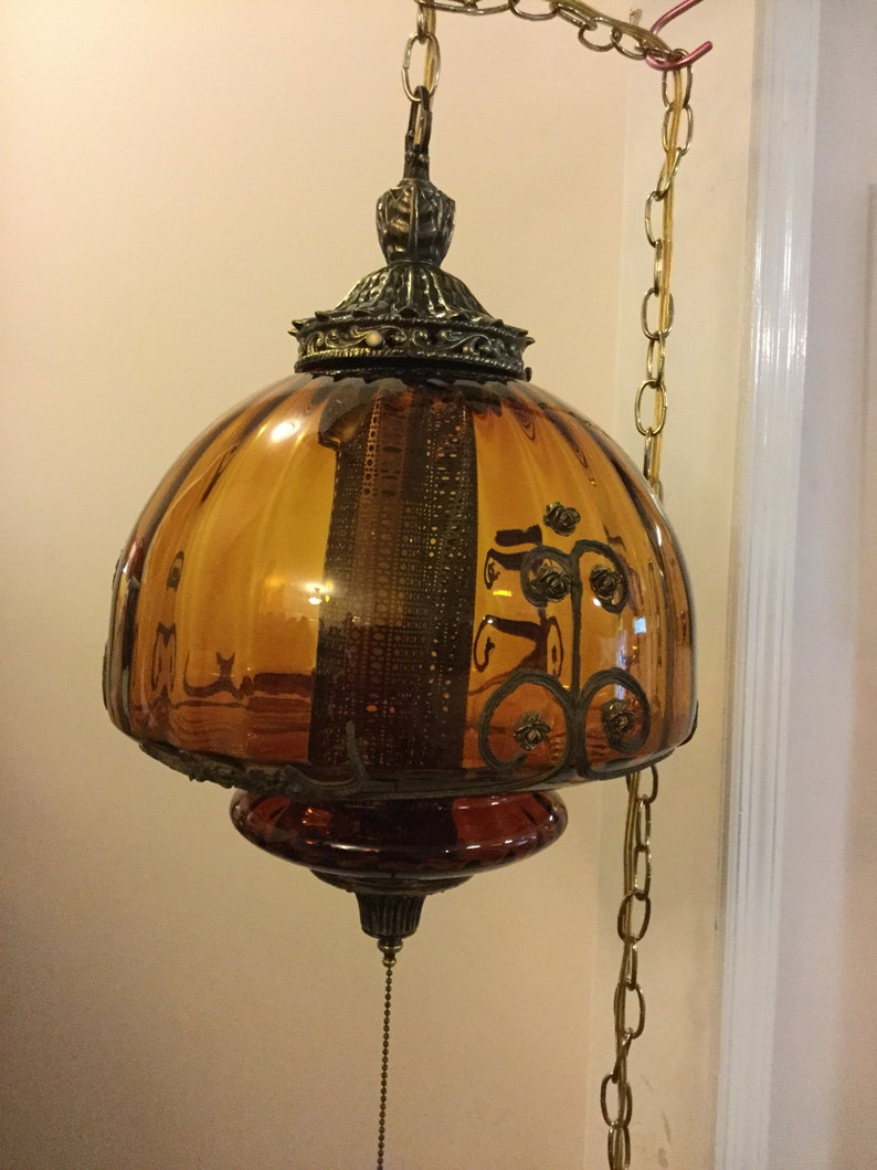 Vintage swag light vintage swag lamp pendant light hanging lamp retro lighting amber swag lamp actual shipping based on your location