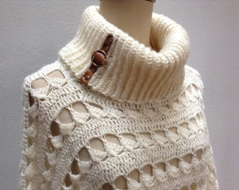 Crochet poncho, Crochet wrap, Cape Coat, Crochet cape, Boho poncho, Cape poncho