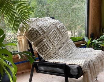 Chunky knit blanket, Ecru wool throw, Coastal home decor.