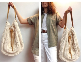 Maxi Hand Crocheted Bag, Cross body bag, Big Tote bag, Large shoulder bag, Raw Cotton bag, Uniquely-crafted