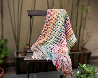 Decorative couch throw, Cotton throw, Couch decor throw blanket, housewarming gift blanket, boho decor, Colorful blanket, Delicate bedding