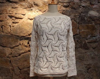 Crochet sweater, loose knit, Open work knit, Cotton Sweater in Ivory cream, Spring knit sweater, Summer sweater knit, Gift for sister