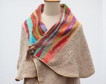 Colorful poncho, Wool Cape, Stripe poncho, Cape coat, Knit poncho, Weaved cape shawl, hand loom Cape, Meander pattern, Tribal Shawl, Ethnic