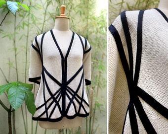 Natural Cotton Cardigan, Knitted Kimono, Summer Kimono Cardigan, Cream poncho, Cream and black, Summer jacket, Anniversary gift, woman gift