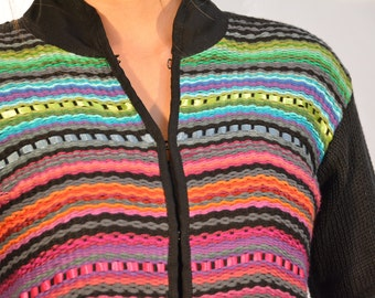 Loom weaved jacket, black cotton coat, colorful jacket, hand knittet, unique gift, black jacket, Lightweight jacket, Zip up jacket, Looming