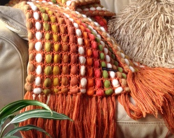Sofa throws large, couch decor throw, sofa wool cover, parents anniversary gift ideas, knitted housewarming gift, orange wool blanket