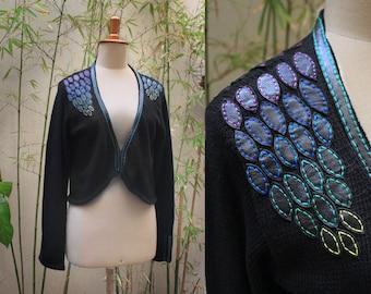 Knitted Cotton Cardigan, Black Cotton Cardigan, Knitted Jacket with Leather, Black knit bolero, Boho jacket, Summer cardigan, Knit shrug