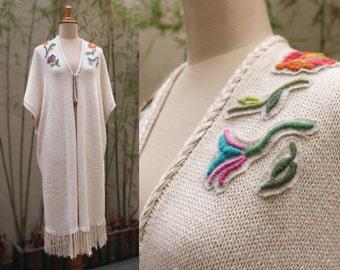 Summer Poncho, Spring kimono, Knitted Poncho, Sring Summer Cover Up, Summer cape, day poncho, fringes poncho, cotton shawl summer, boho chic