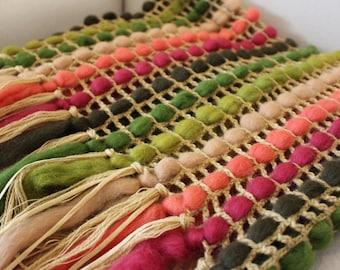 Knitted blanket Green Pink Home decor Rustic Housewarming gift Crochet blanket for Bedroom decor Fringe throw Wool Bedding for New home