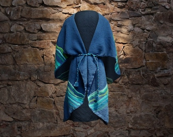 Wool cape, wool poncho, poncho winter, winter shawl, wool outwear, outwear her, long wool coat, open cardigan, Turquoise poncho, blue cape