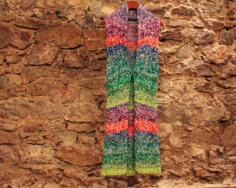 Multicolor vest, Womens long vest, Knitting vest, Pure wool colorful sweater, Women knit, Valentines gift, gift fr mom, Colorful vest