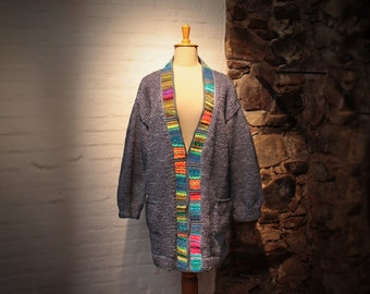 Oversized Wool Cardigan, Bulky Ethnic Cardigan, Chunky sweater with elbow patches, Loose coat, Loom cardigan, Bulky wear, Bulky Cardigan