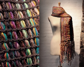 Wool Scarf, Colourful Accessory, Winter Strand Wrap, Designer Scarves, Brown scarf, Fringes scarf, Chunky Scarf, Crochet Scarf, Long Scarf