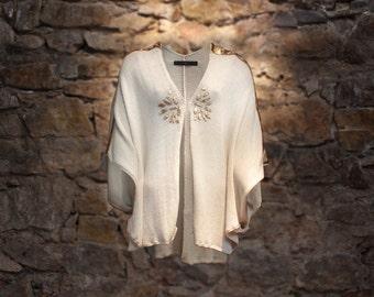 Luxury poncho, cream poncho & gold leather applique, summer cape in cream cotton, unique spring cape, Knit wear, Natural poncho, Gold cape