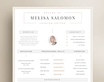 One page resume | Etsy