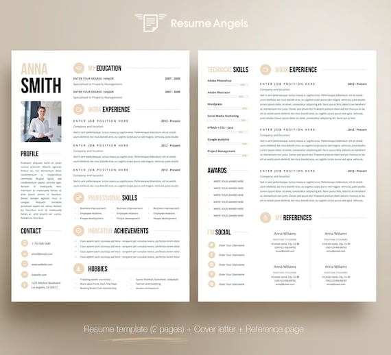 Professional Resume Template, Clean & Modern Resume Template, 1, 2 page  resume template, Instant Download, Resume/CV Template for Word