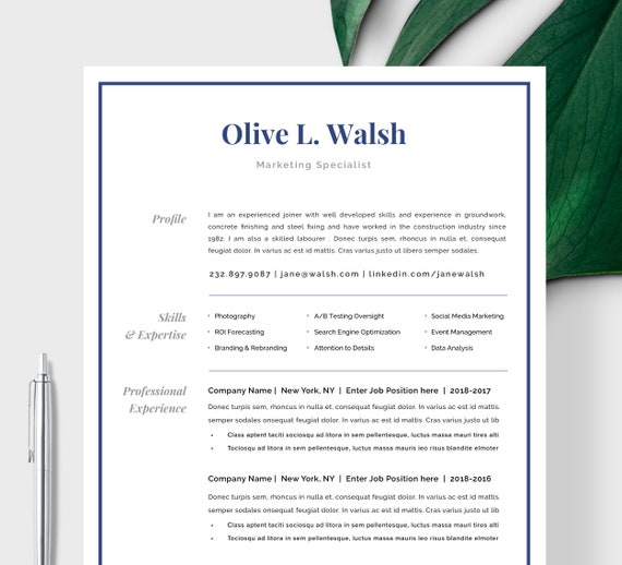 Modern Resume Template   CV Template, Cover Letter   Professional Resume  for Word, Mac or Pc 1 page Minimal Resume, Instant Digital Download
