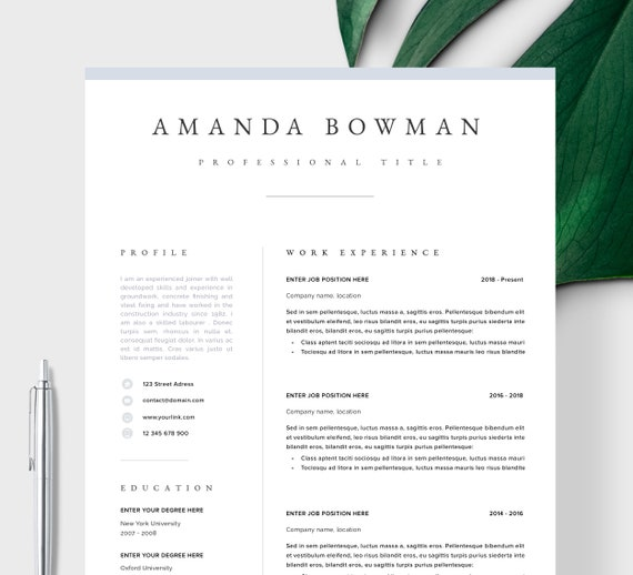 Resume Template Resume Cv Template Cv Design Curriculum Vitae Cv Instant Download Resume Resume Templates Cv Quebec