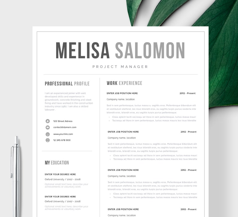 Professional Resume Template For Word Single Page CV One Instant Download Modern