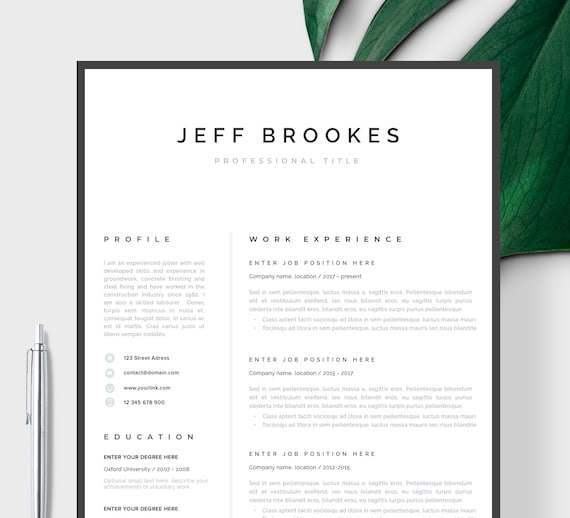 Modern Resume Template | CV Template, Cover Letter | Professional Resume  for Word, Mac or Pc 1 page Minimal Resume, Instant Digital Download